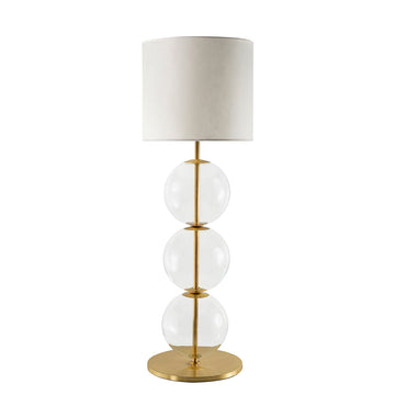 Lampsahde IZABEL shine brushed brass + blown glass sphere + vegetal parchment shade