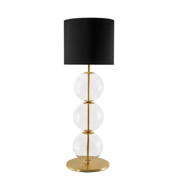 Lampshade IZABEL shine brushed brass + blown glass sphere + black linen shade