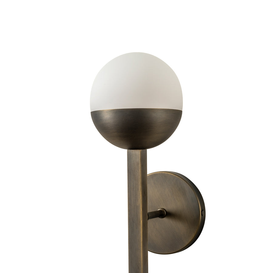 Wall light JABUTICABA 02 oxidized matte brass globes (grey)