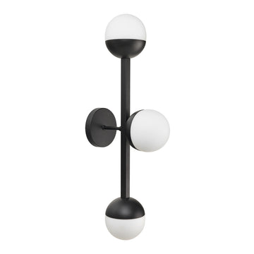 Wall light JABUTICABA 03 black microtexture globes