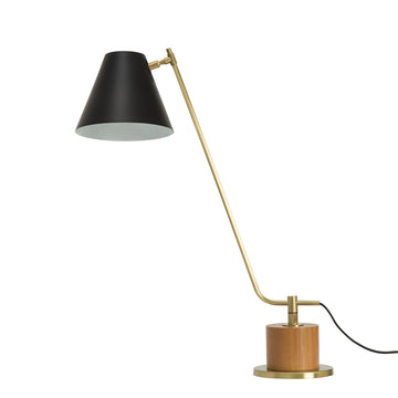 Lampshade LEME matte brushed brass + cedar base + black microtexture shade