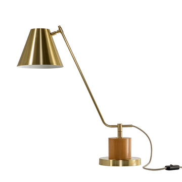Lampshade LEME shine brushed brass + cedar base