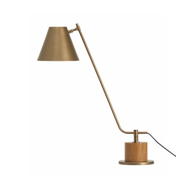 Lampshade LEME old gold microtexture + cedar base