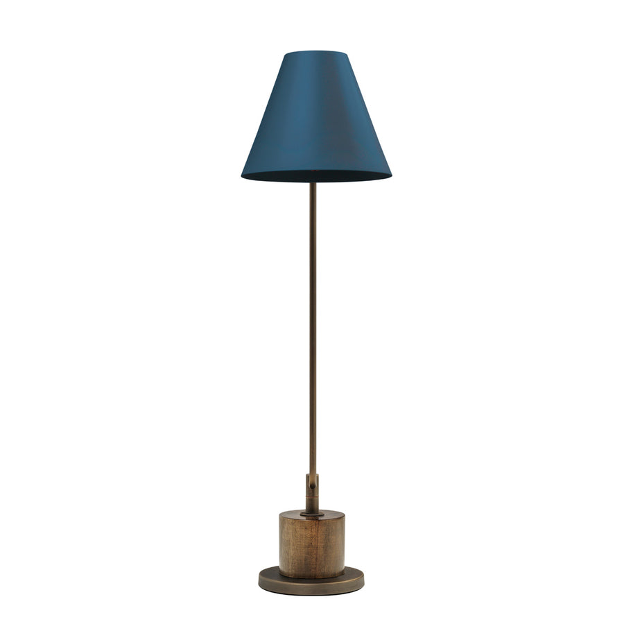 Lampshade LEME oxidized matte brass ( grey) + imbuia base + deep blue microtexture shade