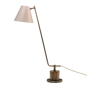 Lampshade LEME oxidized matte brass ( grey) + imbuia base + beige microtexture shade