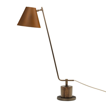 Lampshade LEME oxidized matte brass ( grey) + imbuia base + brown microtexture shade