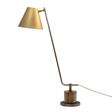 Lampshade LEME oxidized matte brass ( grey) + imbuia base + golden microtexture shade
