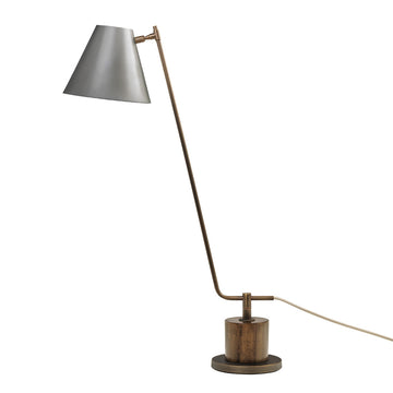 Lampshade LEME oxidized matte brass ( grey) + imbuia base + graphite microtexture shade