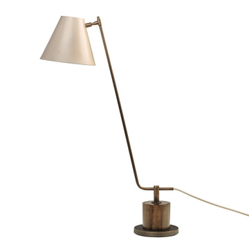 Lampshade LEME oxidized matte brass ( grey) + imbuia base + ivory microtexture shade