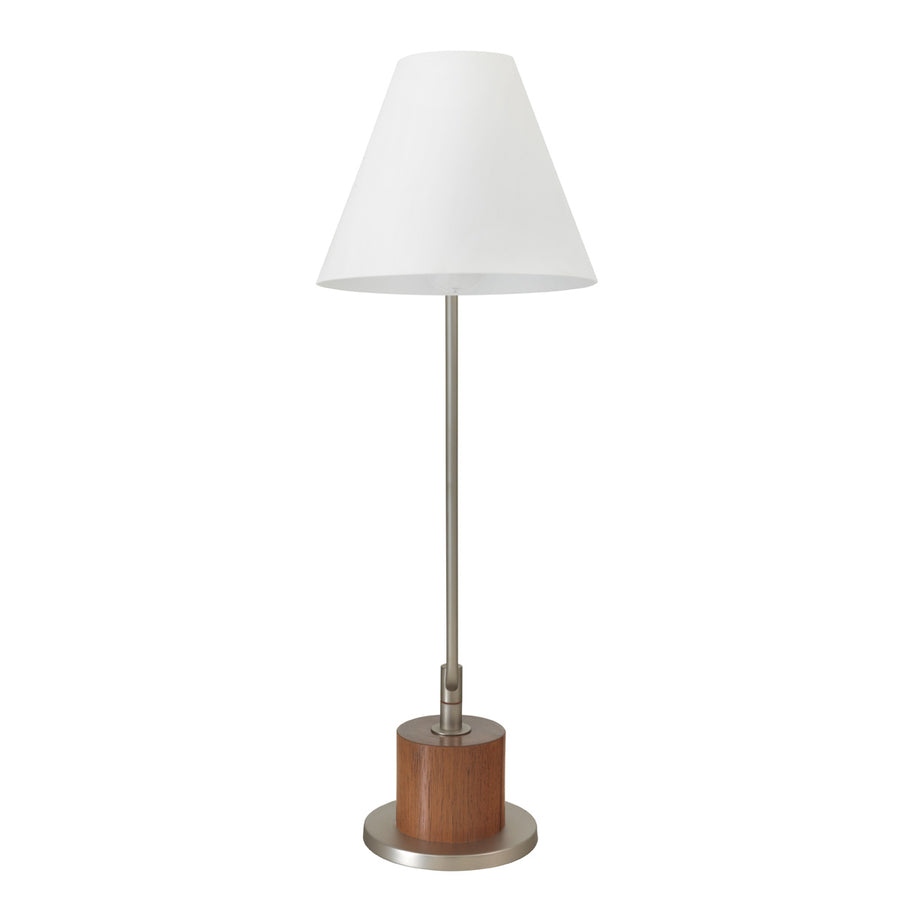 Lampshade LEME nickel + cedar base + white microtexture shade