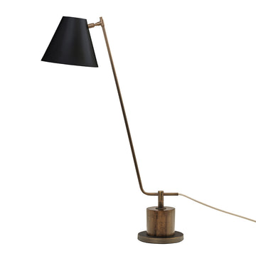 Lampshade LEME oxidized matte brass ( grey) + imbuia base + black microtexture shade