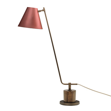 Lampshade LEME oxidized matte brass ( grey) + imbuia base + pink microtexture shade