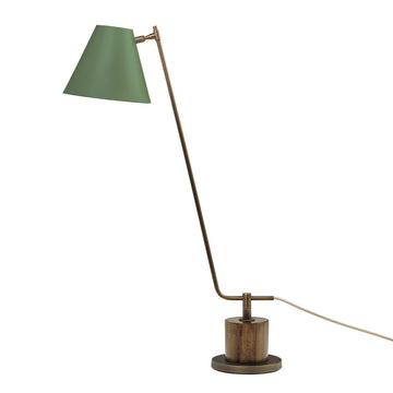 Lampshade LEME oxidized matte brass ( grey) + imbuia base + olive green microtexture shade