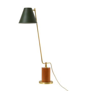 Lampshade LEME matte brushed brass + cedar base + night green microtexture shade