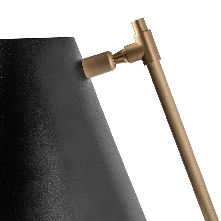 Wall light LEME black microtexture shade + matte brushed brass base and stem