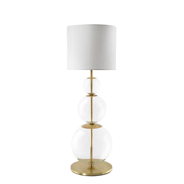 Lampshade HENRIQUETA polished brass + blown glass sphere + whit linen shade