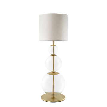 Lampshade HENRIQUETA polished brass + blown glass sphere + vegetal parchment shade
