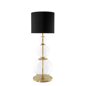 Lampshade HENRIQUETA blown glass and polished brass + black linen shade