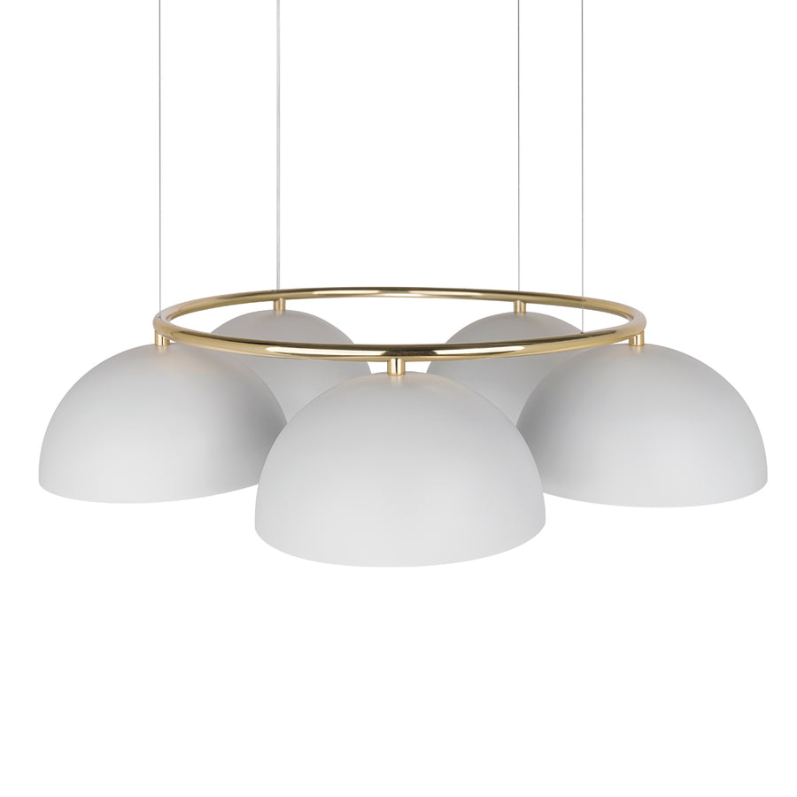 Pendant OCA circular 05 white microtexture shades and polished brass stem