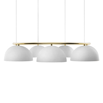 Pendant OCA circular 07 white microtexture shades + polished brass stem