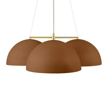 Pendant OCA trio brown microtexture + polished brass stem
