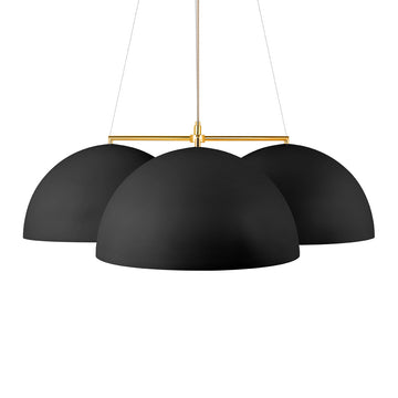 Pendant OCA trio black microtexture + polished brass stem
