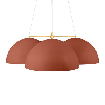 Pendant OCA trio clay microtexture + polished brass stem