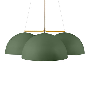 Pendant OCA trio olive green microtexture + polished brass stem
