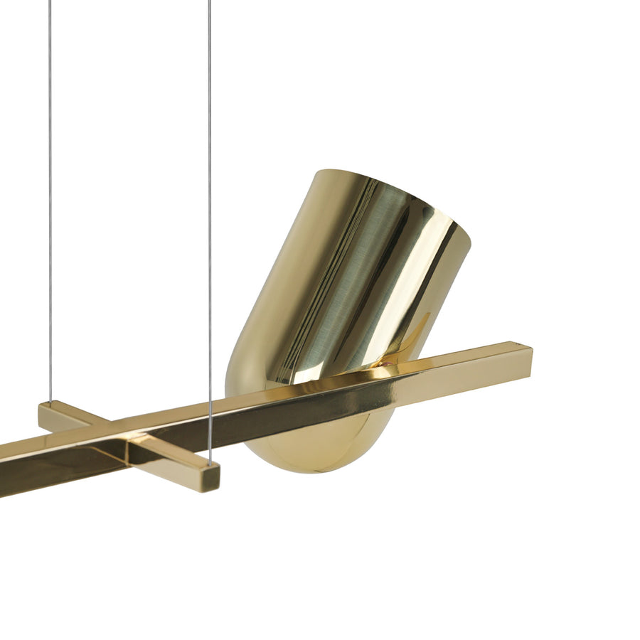 Pendant PASSARINHO 04 polished brass shades + polished brass stem