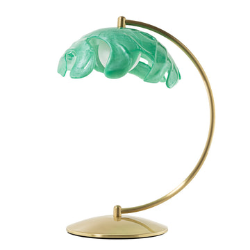 Lampshade PHILO shine brushed brass + translucent resin emerald shade