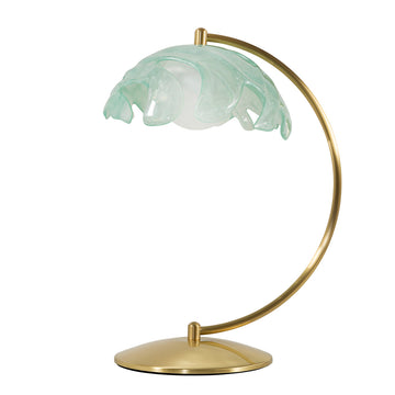 Lampshade PHILO shine brushed brass + translucent resin acqua shade