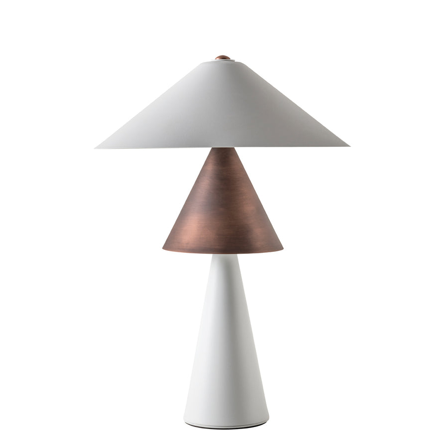 SHANGHAI copper oxidized matte lampshade + base and shade white microtexture