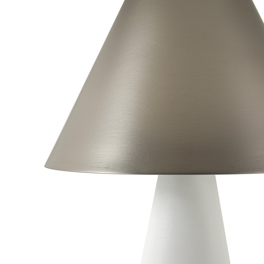 SHANGHAI brass nickel matte lampshade + white microtexture base and shade