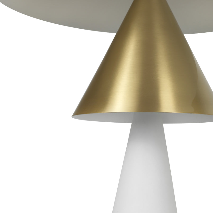 Lampshade SHANGHAI matte brushed brass + white microtexture base + black microtexture shade