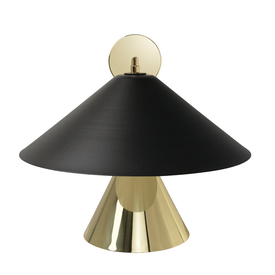 Wall light SHANGHAI bigger black microtexture shade + smaller polished brass and stem