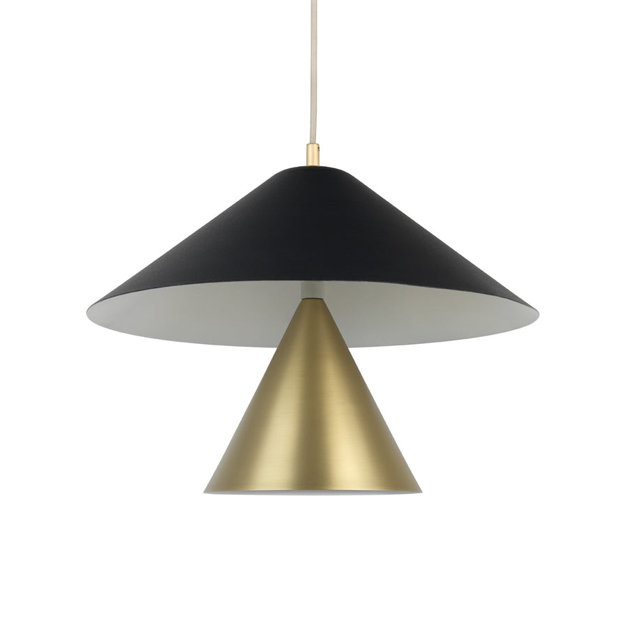 Pendant SHANGHAI bigger black microtexture shade + smaller shade with matte brushed finishe