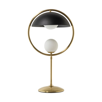 Lampshade TAO shine brushed brass circle and stem + black microtexture