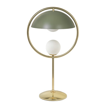 Lampshade TAO polished brass circle and stem + olive green microtexture shade