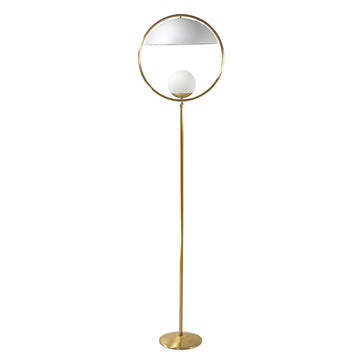 Column TAO shine brushed brass circle and stem + white microtexture shade