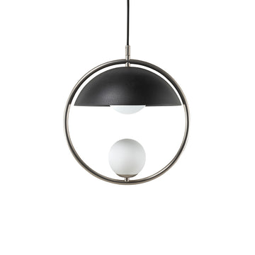 Pendant TAO 1 matte nickel brass circle + black microtexture shade