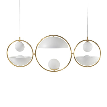 Pendant TAO 03 shine brushed brass circle + white microtexture