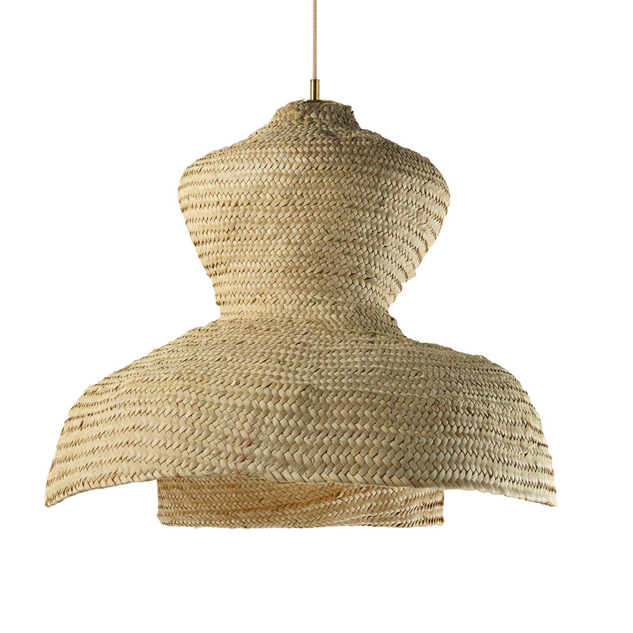 Pendant TRANCOSO two natural woven straw shades and polished brass finish