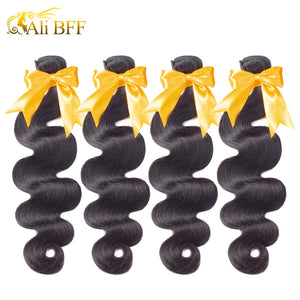 ALI BFF Hair Body Wave Indian Hair Weave Bundles 100% Human Hair 3 and 4 Bundles Natural Color Remy Hair Extension