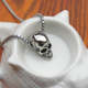 Long Titanium Steel Skull Pendant Necklace