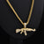 Gun Pendant Crystal Rhinestone Chain Necklace