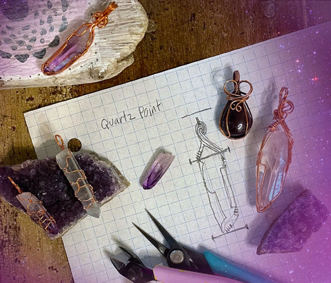 Crystal Wire Wrap Jewelry for Beginners, Hibiscus Moon Crystal Academy, Wire and Stones