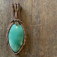 Load image into Gallery viewer, Variscite and Smokey Quartz Wire Weave Pendant