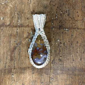 Plume Agate Sterling Silver Wire Weave Pendant