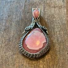 Load image into Gallery viewer, Rhodochrosite Dual Stone wire weave pendant