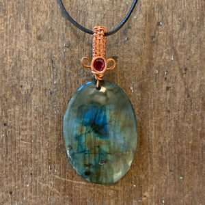Drilled Labradorite with Garnet Necklace